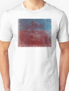 lonely horse in the red field, flying birds, blue, red T-Shirt