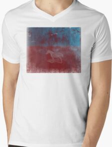 lonely horse in the red field, flying birds, blue, red Mens V-Neck T-Shirt
