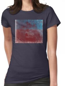 lonely horse in the red field, flying birds, blue, red Womens Fitted T-Shirt