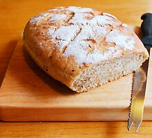 Sourdough on Chopping Board with Knife 2 by jojobob