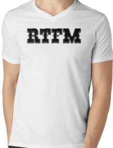 RTFM - Western Style Black Font Design for Coomputer Geeks Mens V-Neck T-Shirt