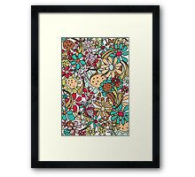 big colorful messy hippie doodle flowers Framed Print