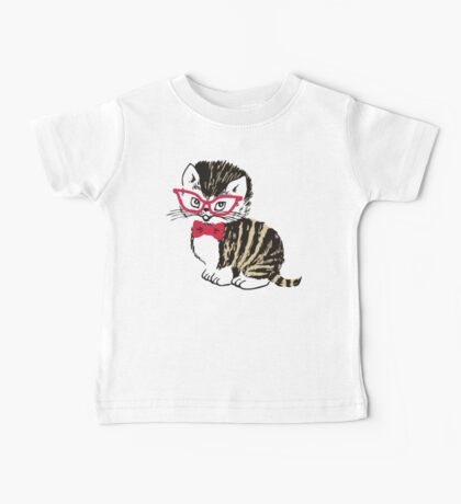 Cute kitten cat bow tie glasses Baby Tee
