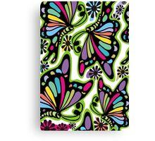 Rainbow color butterflies hippie flowers Canvas Print