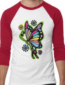 Rainbow color butterflies hippie flowers Men's Baseball ¾ T-Shirt
