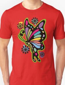 Rainbow color butterflies hippie flowers Unisex T-Shirt