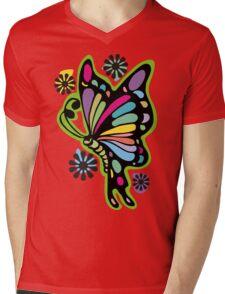 Rainbow color butterflies hippie flowers Mens V-Neck T-Shirt