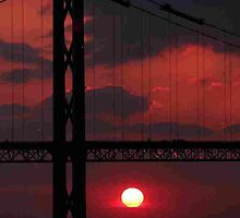 Sunset at the Forth Road Bridge by Pat Millar