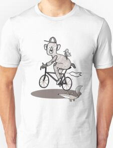 Bear on bike with Fox and Bird Unisex T-Shirt