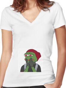 Blurryface Pepe meme Women's Fitted V-Neck T-Shirt