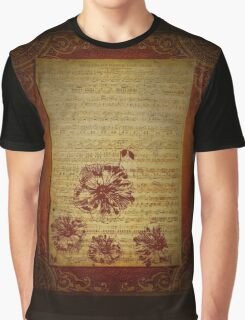 Vintage Sheet Music And Flowers Graphic T-Shirt