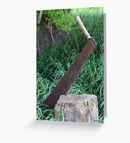 Two Person Cross Cut Saw Greeting Card