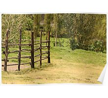 Wood Fence in a Farmers Field Poster