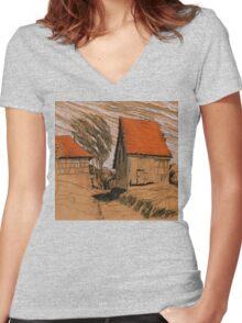 wind schuppen Women's Fitted V-Neck T-Shirt