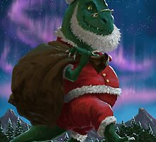 Dinosaur Christmas Santa out in the snow by martyee
