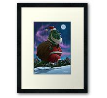 Dinosaur Christmas Santa out in the snow Framed Print