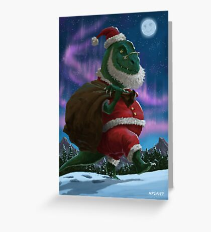 Dinosaur Christmas Santa out in the snow Greeting Card