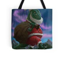 Dinosaur Christmas Santa out in the snow Tote Bag