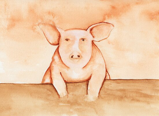 Pig in Watercolor by Katrina Larock