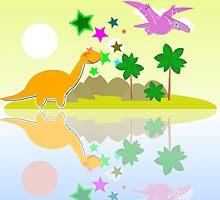 Cute Dinosaurs on a Tropical Holiday Island by cutecartoondino