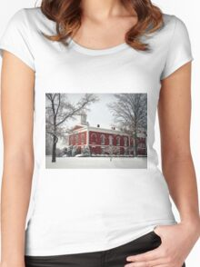 Courthouse in the Snow Women's Fitted Scoop T-Shirt