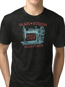 Funny seamstress vintage sewing machine Tri-blend T-Shirt