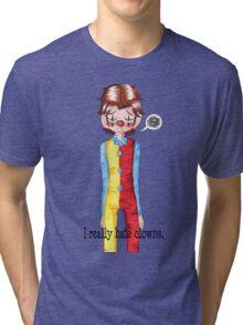 Sam Winchester really hates clowns.  Tri-blend T-Shirt