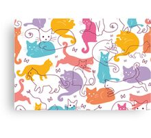 Colorful cats silhouettes pattern Canvas Print