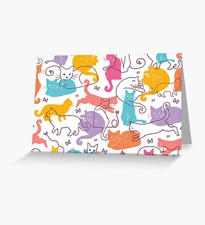 Colorful cats silhouettes pattern Greeting Card