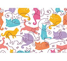 Colorful cats silhouettes pattern Photographic Print
