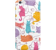 Colorful cats silhouettes pattern iPhone Case/Skin