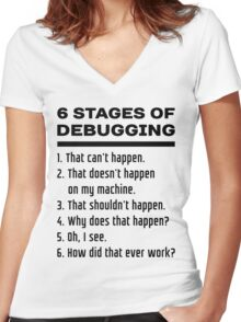Six Stages of Debugging: Black Text Design for Programmers Women's Fitted V-Neck T-Shirt