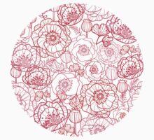 Poppies line art pattern One Piece - Long Sleeve