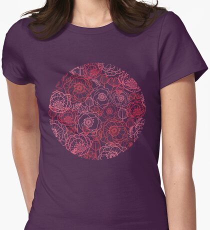 Poppies line art pattern Womens Fitted T-Shirt