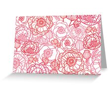 Poppies line art pattern Greeting Card