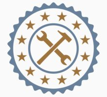 Round Craftsman Wrench And Hammer Logo by Style-O-Mat