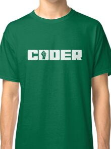 Coder - White Text for People who Write Code Classic T-Shirt