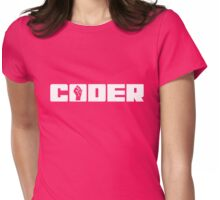 Coder - White Text for People who Write Code Womens Fitted T-Shirt