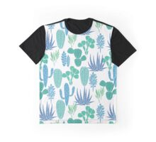 Succulents botanical blue and green cactus flora fabric print. Graphic T-Shirt