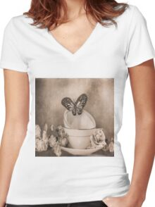 Afternoon Tea 3 Women's Fitted V-Neck T-Shirt