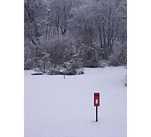 red postbox white snow Photographic Print