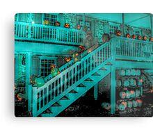 Jack-O-Lanterns Line the Rails of the Van Cortlandt Manor Metal Print