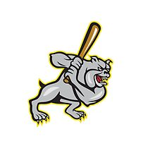 Bulldog Dog Baseball Hitter Batting Cartoon by patrimonio