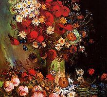 Vase with Poppies, Cornflowers, Peonies and Chrysanthemum. Vincent van Gogh.  by naturematters