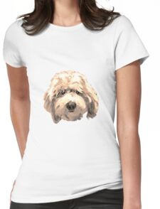 Lucky Labradoodle Face ~ Golden Womens Fitted T-Shirt