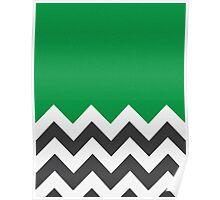 Green Chevron Pattern  Poster