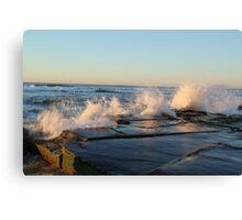 crashing waves at Bar beach Newcastle  Canvas Print