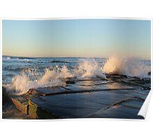 crashing waves at Bar beach Newcastle  Poster