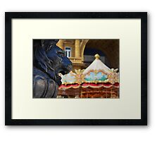 The lion and the carrusel Framed Print