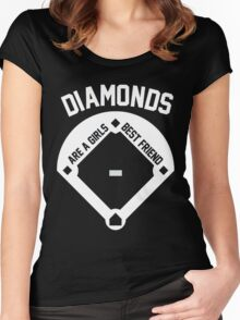 DIAMONDS ARE A GIRLS BEST FRIEND (VINTAGE BASEBALL) Women's Fitted Scoop T-Shirt